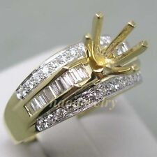 6.5mm Round Cut Solid 14K Yellow Gold Natural Diamond Semi Mount Ring Setting