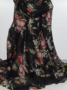 BNWT Long-Soft Fabulous Floral Design on Black Shawl Scarf -180cm x 110cm