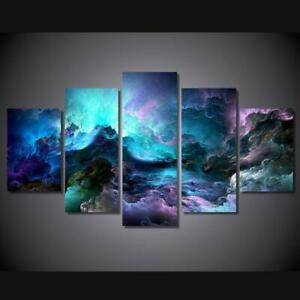 Colorful Storm Clouds Framed 5 Piece Abstract Canvas Wall Art Image Picture Wall
