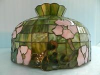 Vtg~Tiffany/ or? Stained/Slag/Favrile? Glass, Floral Hanging Light Fixture Lamp
