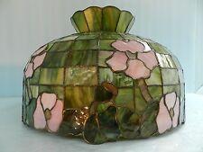 Vtg~Tiffany/ or? Stained/Slag/Favrile? Glass, Floral Hanging Light Fixture Lamp