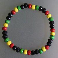 Mens Wooden Bead Tribal / Surfer Elastic Bracelet - Jamaican Rasta Colours - NEW