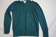 Ann Taylor Loft Women's Long Sleeve Thin Sweater Ruched Blouse Top Size Small