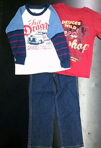 Toddler & Boys 'Boyz Wear' 3PC. Long Sleeved T-Shirt & Pants Sizes 2T - 6