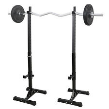 GYM Pair of Adjustable Rack Sturdy Steel Squat Barbell Free Bench Press Stands