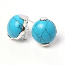 Silver Blue Turquoise Gems Stud Earrings New Fashion Women's Solid 925 Sterling