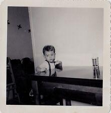 Vintage Antique Photograph Adorable Little Boy Sitting At Kitchen Table