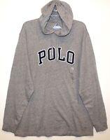 Polo Ralph Lauren Big & Tall Mens XLT Gray Letterman Hoodie L/S T-Shirt NWT XLT