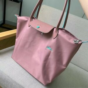 Women Bag Longchamp Le Pliage STYLE Nylon Tote Bag Horse Embroidery Size L Pink