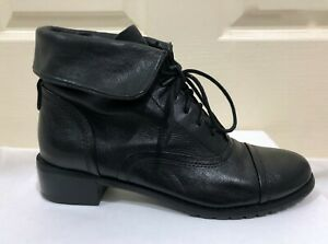 ❤️ BLACK LEATHER SIZE 8 TRENT NATHAN DESIGNER ANKLE BOOTS RRP: $300.00 ❤️
