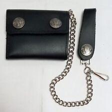 """Buffalo Nickel Black Leather Trucker Wallet 4.25"""" x 3.5"""" Bifold 12"""" Chain"""