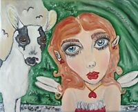 ORIGINAL Fairy Painting 8x10 by Artist KSams Faery with Mini Alpine Goat Big Eye