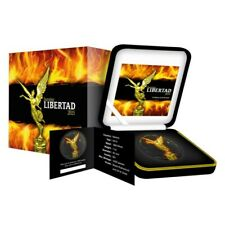 2015 Mexican BURNING LIBERTAD Colorized Gold Gilded 1oz .999 Silver Coin