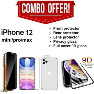 9D Privacy Front Back Lens Tempered Glass Screen Protector For iPhone 12 Pro Max