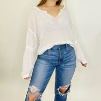 Free People We The Free Dahlia Waffle Knit Peasant Flare Sleeve Blouse XS Womens
