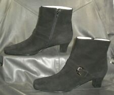 "Salvatore Ferragamo Boutique ""Molise"" black suede zip up ankle boots Womens 10 B"