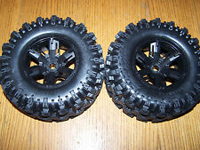 2 Traxxas 8S 1/5 X-Maxx AT Tires Black Wheels Assembled Glued 7772X / 6s Upgrade
