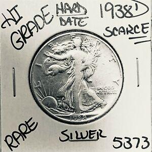 1938 D LIBERTY WALKING SILVER HALF DOLLAR HI GRADE U.S. MINT RARE COIN 5373