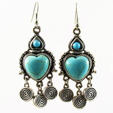 US Seller TURQUOISE EARRING fashion vintage BLUE SILVER Dangle heart Chandelier