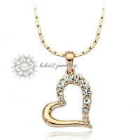 Simulated Diamond/18K White/Rose Gold Plated Heart Pendant Necklace/RGN086