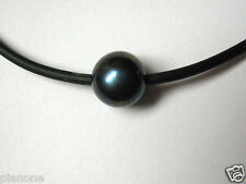 "11-12mm Single Black or White Freshwater Pearl Necklace 18""-20"" Rubber Cord"