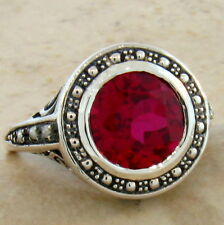 .925 Sterling Silver Ring Size 8, #346 3.5 Ct. Lab Ruby & Pearl Antique Design