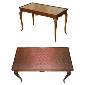 LOVELY VINTAGE WRITING TABLE DESK IN MAHOGANY WITH SILK EMBROIDERED GLASS TOP