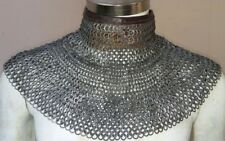 Chainmail Collar with Leather 8mm 18 Gauge Flat Alt Solid Ring Wedge Riveted