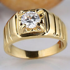 Men's Gold Plated Finger Ring Round Solitaire Stone Size Selectable Quality Gift