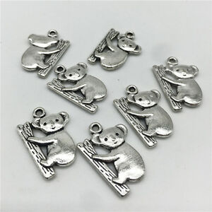10pcs Tibetan Silver Charms Koala Climb Animals Fit DIY Pendant Jewelry 15*12mm