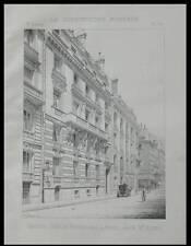 PARIS, 12 RUE DE BOURGOGNE - 1894 - PLANCHE ARCHITECTURE - GUSTAVE RIVES