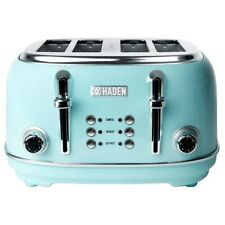 Haden Heritage 4-Slice Wide Slot Stainless Steel Body Retro Toaster, Turquoise