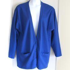 PREVIEW BASICS Blue Cotton Knit V-Neck Sweater Long Sleeve Women's Plus Size L