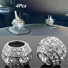 4pcs Chrome Crystal Bling Auto Car Headrest Collar Interior Head Rest Pole Decor