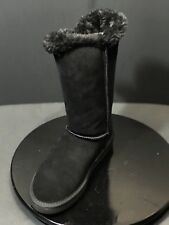 NEW Flojos Women Cember Two Button Suede Tall Winter Black Boots Size US 8 M