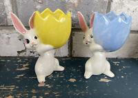 Vintage Ceramic Easter Bunny Holding Cracked Egg Easter dish/ planter figure Lot