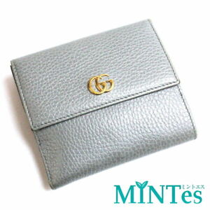 Auth Gucci GG Marmont Leather W Hook Bi-Fold Wallet 456122 Gray Wallet Compact [