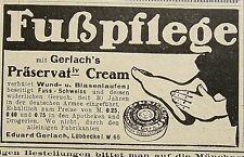 Fußpflege mit Gerlach's Präservativ Cream Lübbecke Werbung Reklame von 1905