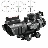 CVLIFE 4X32 Tactical Rifle Scope Tri-illuminated Rapid Range + Fiber Optic Sight