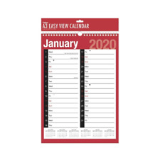 2020 A3 EXTRA WIDE TWO COLUMN MONTH TO VIEW PLANNER SPIRAL WALL HANGING PLANNER