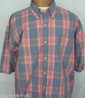 Big and Tall Sport Shirt SS Saddlebred Casual Mens Coral Htr Plaid NWT New 2XLT