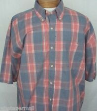 NMT Sport Shirt Big and Tall SS Saddlebred Coral Heather Plaid Mens New 2XLT