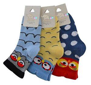Boys Girls Bird socks toddler colourful socks  90% cotton pairs 3 mix colours