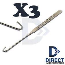 3Pcs Surgical Spay Snook Hook Ovariohysterectomy Nursing Veterinary Instruments