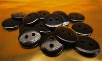 25 Stück Dessous Knopf, Knöpfe,  schwarz rund,  Ø 11 mm   S 29