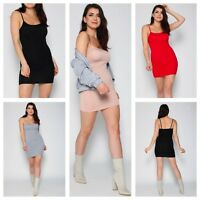 NEW WOMENS LADIES SLEEVELESS CASUAL PLAIN BASIC STRETCH BODYCON MINI CAMI DRESS