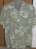 Kalaheo Men's Large Made in Hawaii Orchid 100% Rayon Tropical Aloha Wear Shirt