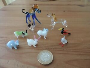 Collection of 9 Vintage Murano? Glass Miniature Animals from 1960s-1970s