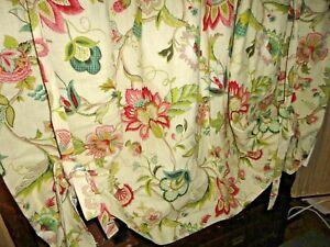 CUSTOM JACOBEAN FLORAL GREEN PINK SPRUCE (1) THERMAL LINED SHADE PANEL 70X50