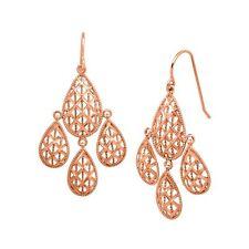Eternity Gold Chandelier Mesh Earrings in 10K Rose Gold